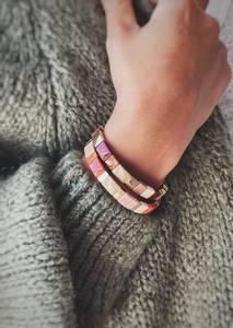 Bilde av Brun - Enamel Tiles Armbånd
