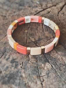 Bilde av Korall - Enamel Tiles Armbånd
